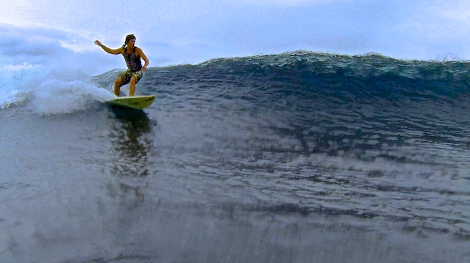 Kevin Hammond Using the Prototype GoVest™ on his right shoulder since he has a regular stance while surfing