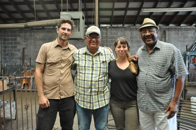 Lead sound artist Taylor Shepherd and Operations Manager Tori Bush with Master Blacksmith Darryl Reeves and Jonn Hankins of the New Orleans Master Crafts Guild - our collaborators on a new musical house.