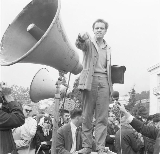 Mario Savio in Free Speech Movement protest at UC Berkeley