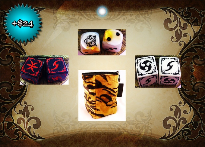 THE WAY OF THE TIGER DICE BAG and SIX DICE: $24.  With two dice, you can play The Way of the Tiger.  With six, you can play anything.  All (including bag) are custom made.