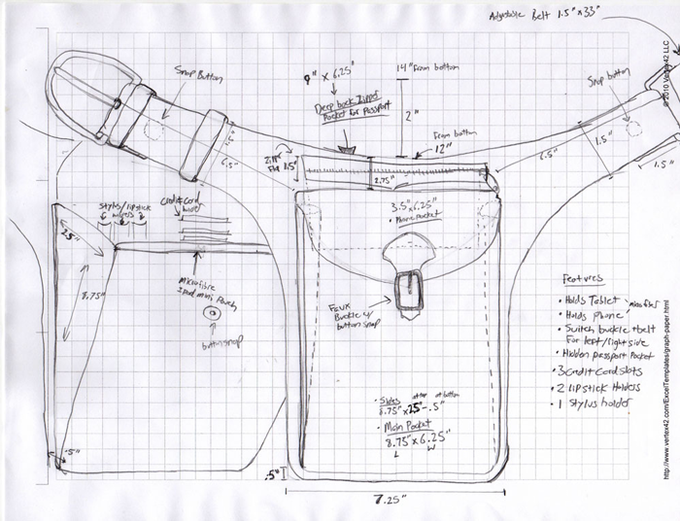 Early drawings of the Lillum Bag