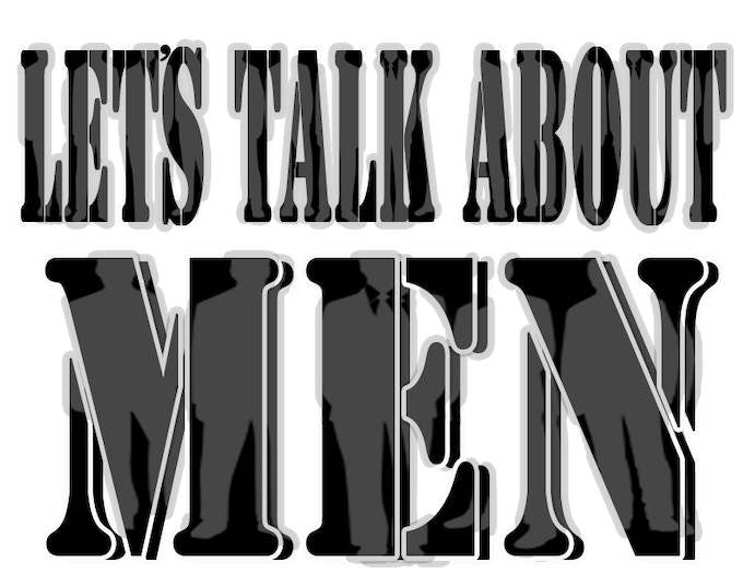 """Let's Talk About Men"" t-shirt graphic.  **T-shirt size selection will be made via a survey you will receive at the end of the campaign"