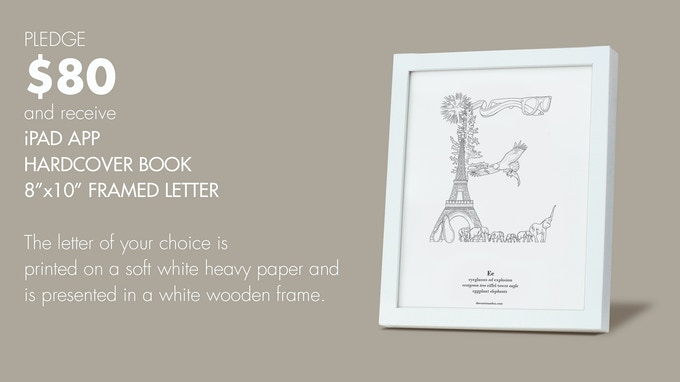 "$80 reward: 8""x10"" Framed Print of a Letter of your choice PLUS The Curious ABCs iPad App and the Hardcover Book."
