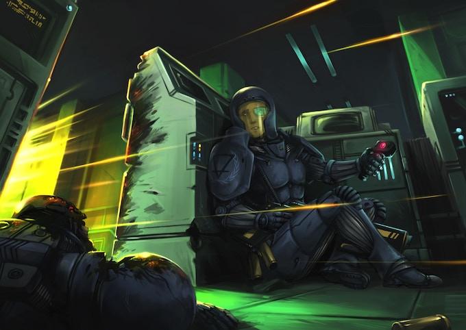 Human commando trooper under enemy fire.