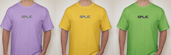 The Split T-shirts: Choose from Purple, Yellow or Green