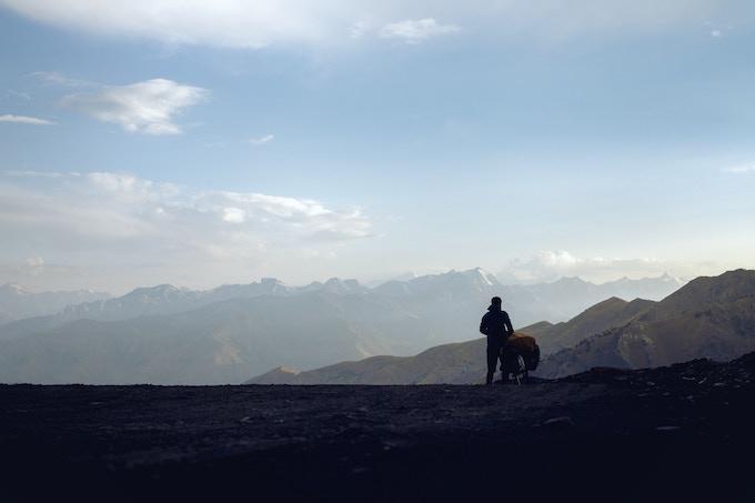 Above: Crossing the Passo Dello Stelvio in the Italian Alps, Crossing the Anzob Pass in Tajikistan Himalayas.