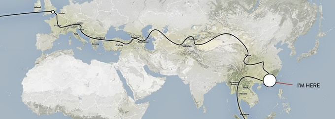 Above: Cycling the deserts of Uzbekistan, Crossing the Kyrg Plateaus, The journey so far from London to Hong Kong took over 18 months to complete.