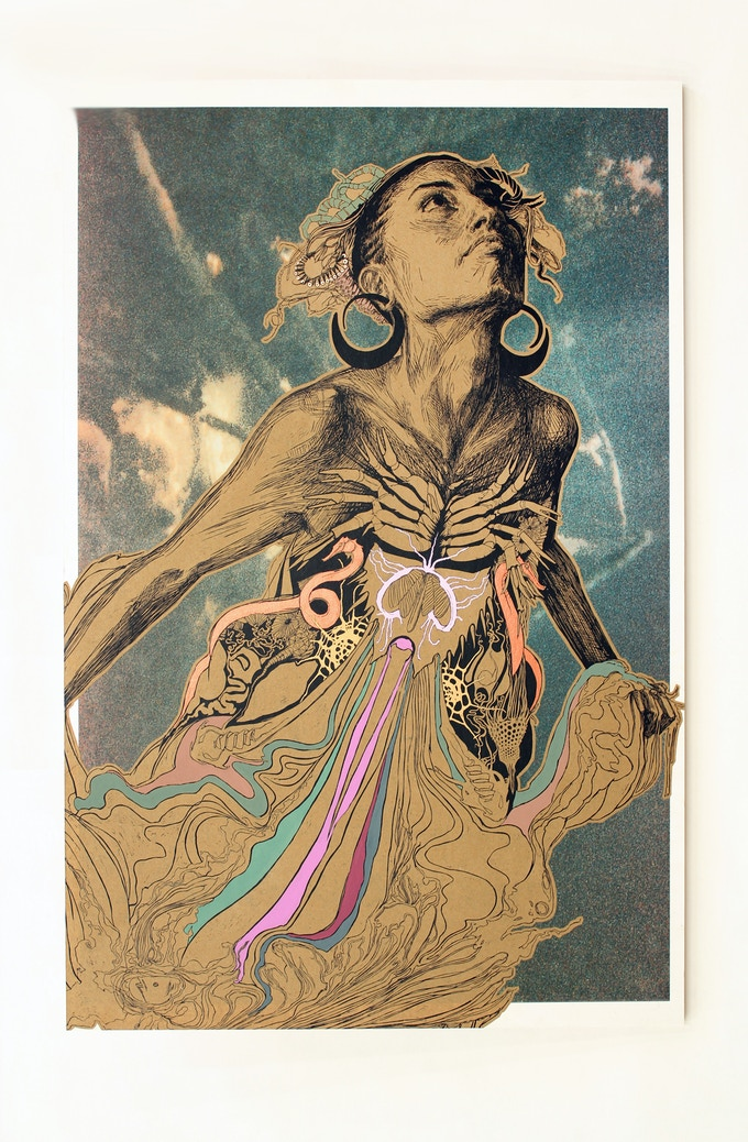 """$5,000.00 Reward: An original signed work by Swoon, Thalassa: Screenprint, hand painting and photography on paper mounted to wood, Signed edition variant of 14. 23"""" x 33"""""""