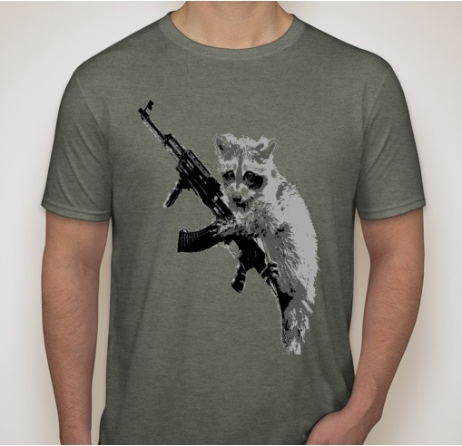 Raccoon with kalishnikov. A statement on gun control (good luck guessing which side I'm on)