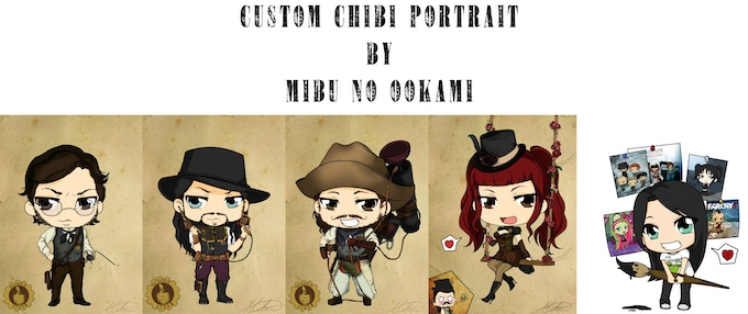 At the $45 reward level you can get a custom Chibi portrait but Mibu No Ookami *EXCLUSIVE TO THIS REWARD TEIR*