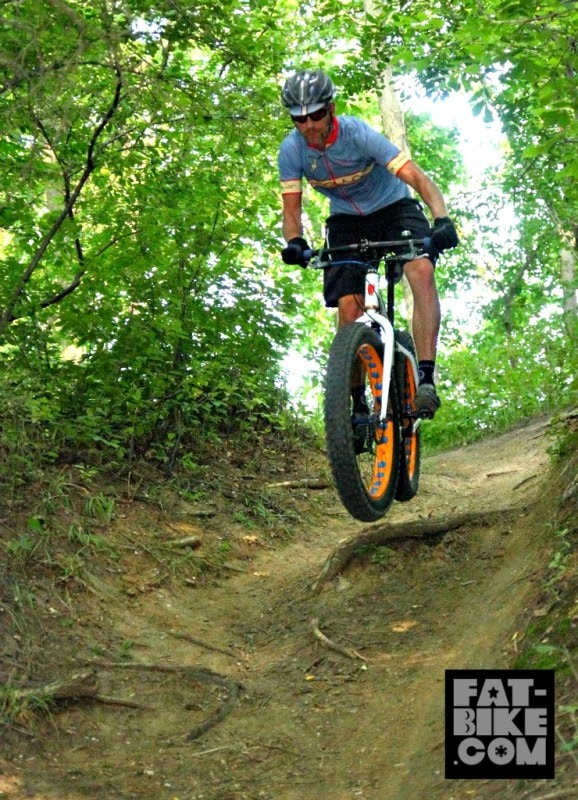 Matt takes flight on his Puffin in Nebraska - picture thanks to fat-bike.com