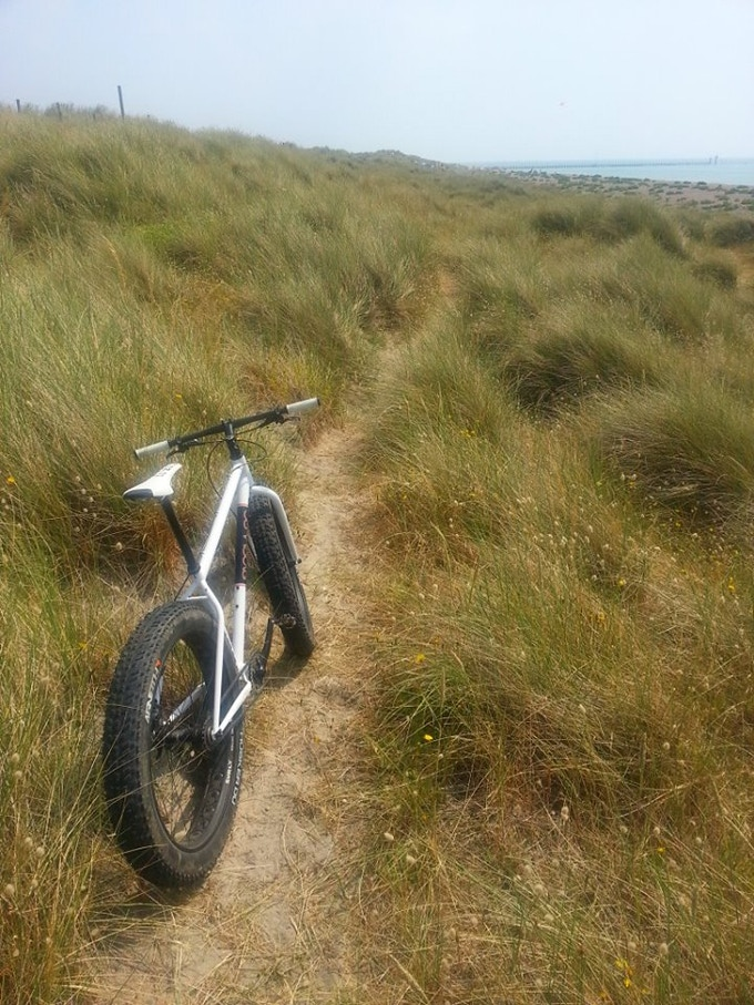 Sand dune singletrack on the south coast of England