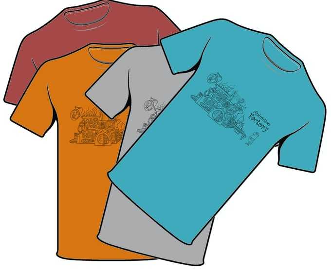 T-shirts available in White, Grey, Orange, Blue, and Yellow!