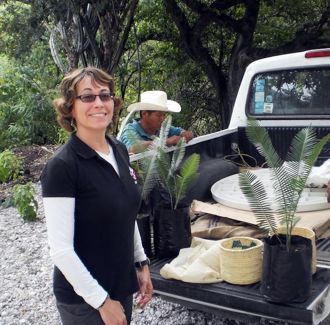 Anne in Paso de Botello community, Santa Catarina, SLP, Mexico with endangered Chamal plant.