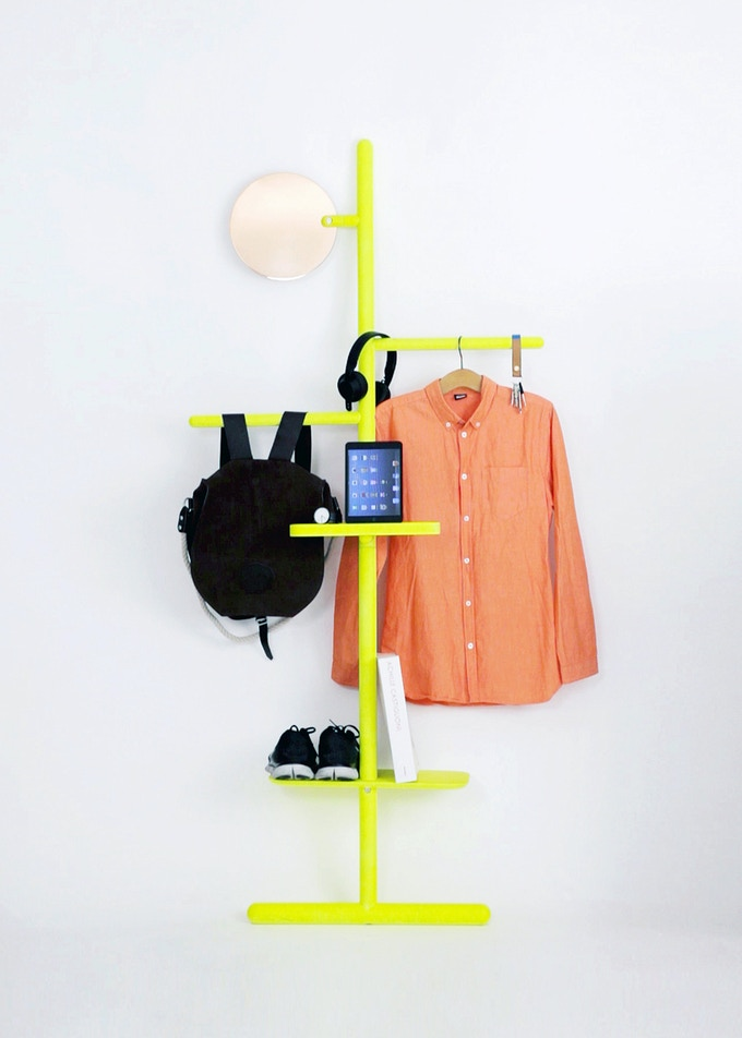 Camerino Valet Stand in Fluoro Yellow and Copper mirror.