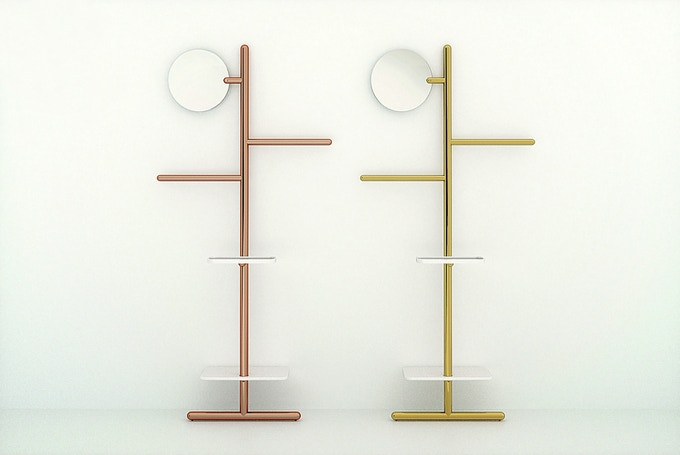 Limited Edition Camerino Valet Stand numbered and signed in brass or copper with marble shelves.