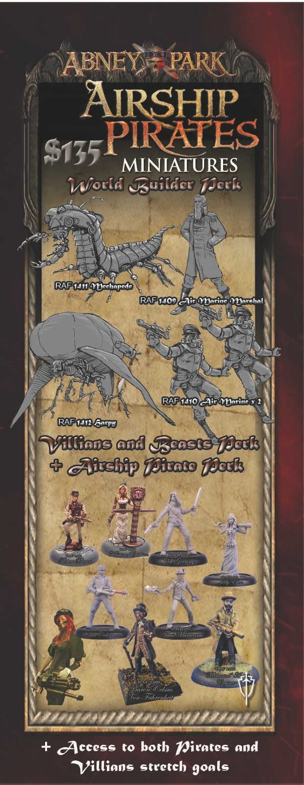 World Builder Perk - All miniatures are shipped unpainted 32mm metal miniatures