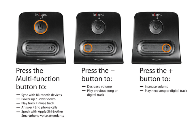 The 3 button design provides full control.