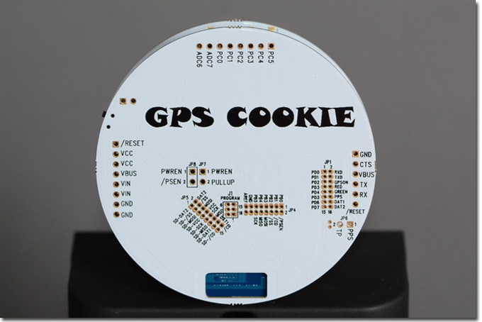 First GPS Cookie Prototype - expansion ports you expect on an Arduino compatible board.