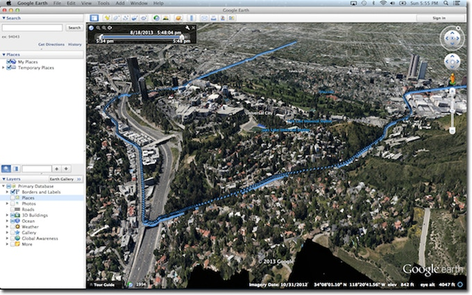 View your travel routes in Google Earth. Universal Studios, Disney and WB seen here!