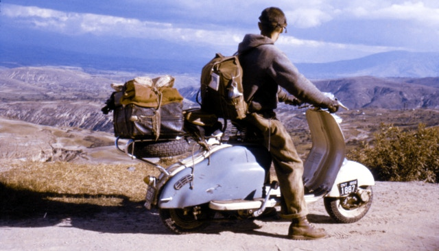 Enjoying the beautiful view at the equator. (North of Quito, Ecuador, April 1960)