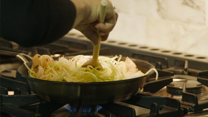 "Veggie ""pasta"" with olive oil, garlic and shrimp"
