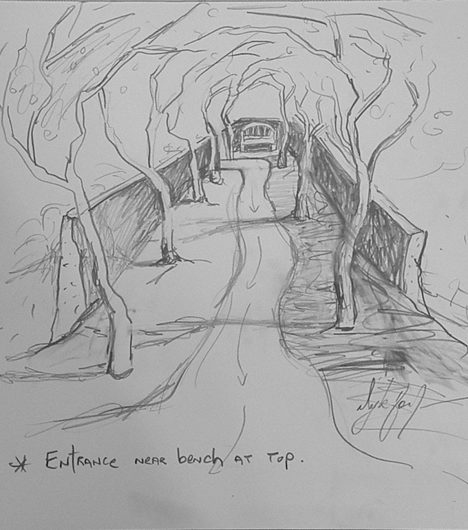 Rough sketch of trees and pathway with entrance near the bench at top.