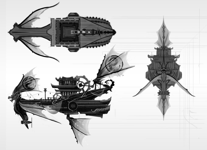 Blueprints of the Hei Long, Mei Ji Lao's flying junkship