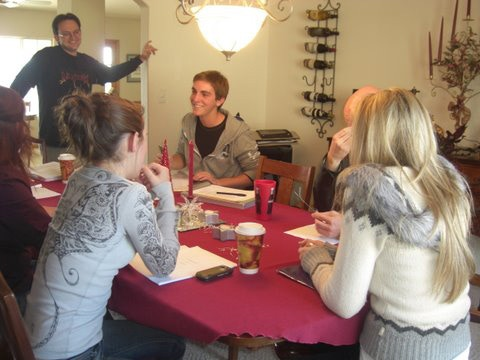 "Table Read for ""My Necklace, Myself"" (clockwise from front left: Christiana Minga, Deanna Lynn Walsh, Bryan Caron, Derek Majewski, J.G. Franklin, Samantha Valencia)"