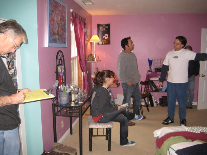 "From the set of ""My Necklace, Myself"" (from left to right: Ronald Shattuck, Christiana Minga, Rich Minga, Bryan Caron)"