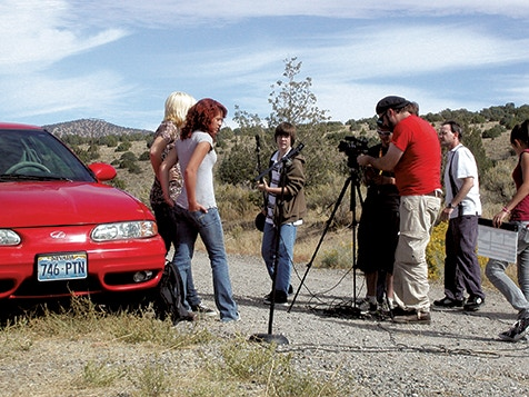 "From the set of ""Secrets of the Desert Nymph"" (from left to right: Desiree Beaumont, Talice Gadwill, Noah Shek, Derek Woolford, Brent Caron, Bryan Caron, Shaylin Segura)"