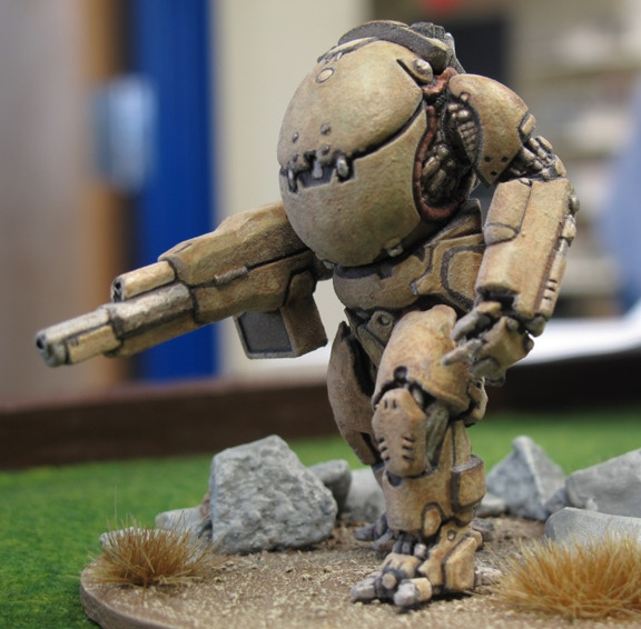 Prototype Hardsuit w/ Grenade Launcher (not actual size) Painting by Max Martelli