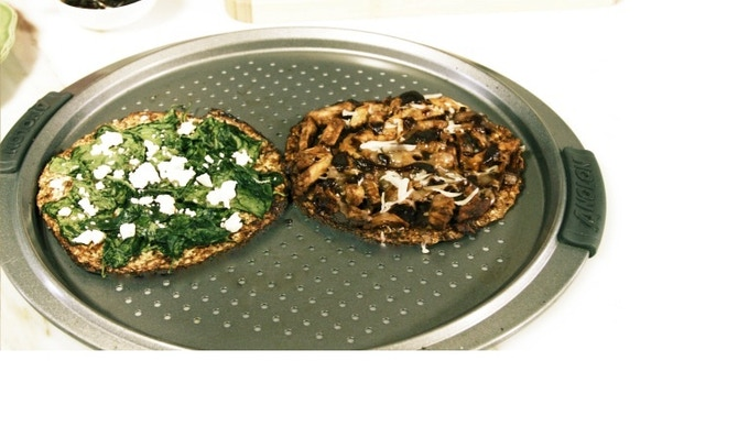 """Spinach & feta and BBQ chicken pizza on veggie """"pizza crust"""""""