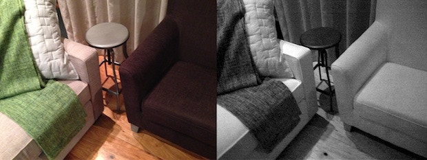 Some materials reflect infrared light in unexpected ways. Look at the brown chair!