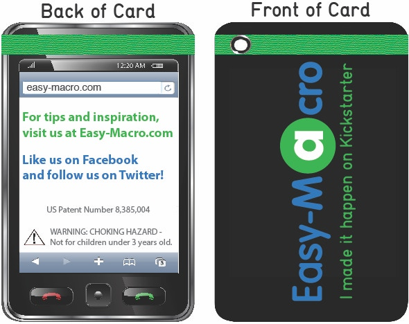 Backers at the $25 level and up get this Limited Edition storage card!