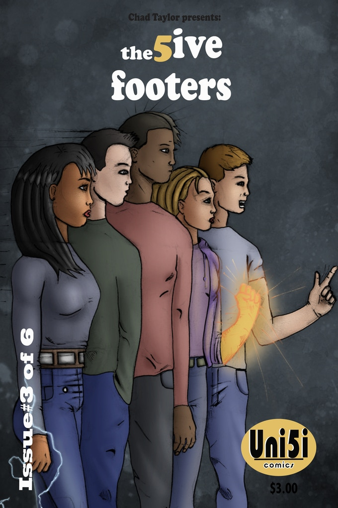 Issue 3 cover with the main characters: Jewel,Tako,David,Dana and Brian (left to right)