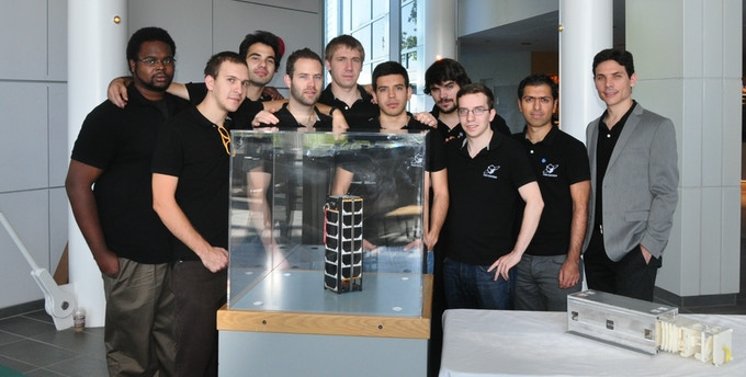 The previous winners of the Canadian Satellite Design Challenge. This image belongs to Space Concordia.