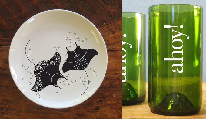 Left, Manta Ray plate, and right, ahoy glass.