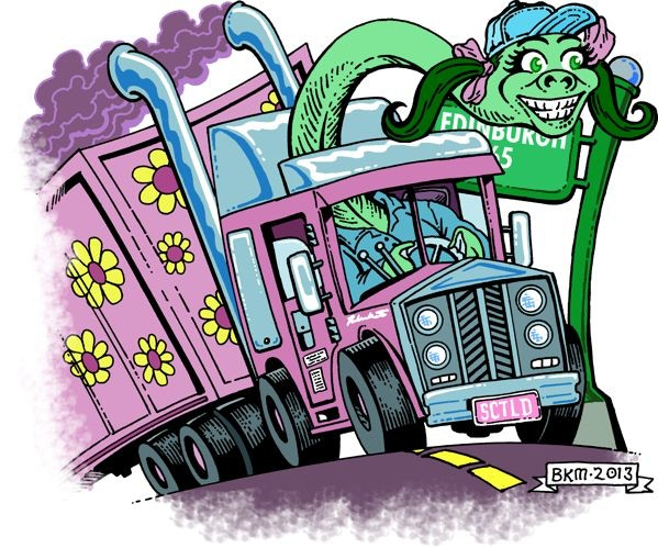 Nessie tears up the road in her big rig.