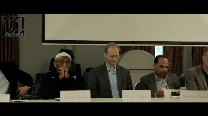 Interior of board election meeting in Clifton Mosque in Cincinnati, Ohio