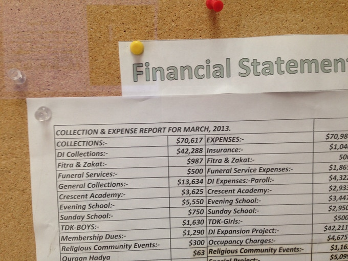 A mosque's March financial statement is the only visible financial record found on this bulletin board. This shot was taken in September.