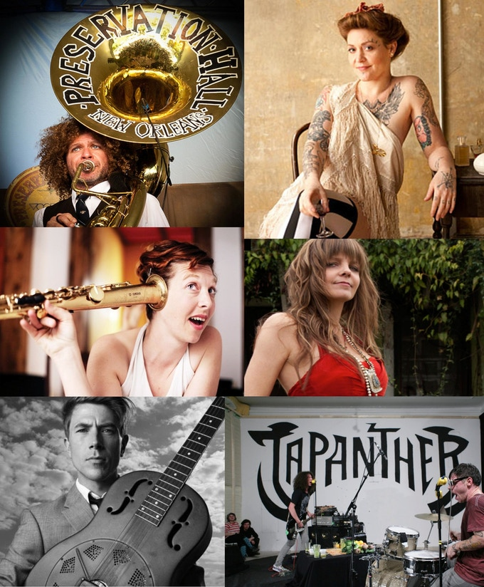 $3000.00 Premium: From top left to right, top row: Ben Jaffe (NOLA), Meschiya Lake (NOLA), second row: Aurora Nealand (NOLA), Theresa Andersson (NOLA), third row: Luke Winslow King (NOLA), Japanther (NY). Have them come play at your house or party!