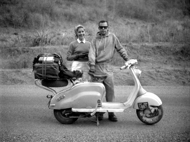 A fantastic photo of Ron and Tove taken along the road to Managua, which we didn't know existed until recently. (February 25, 1960, Nicaragua)