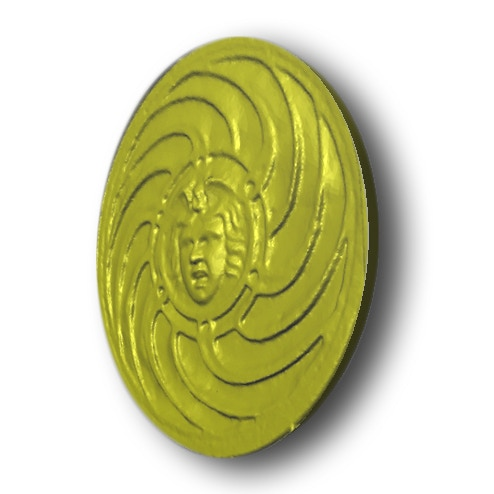Rendering of gold-plated Medusa relief (results may vary)