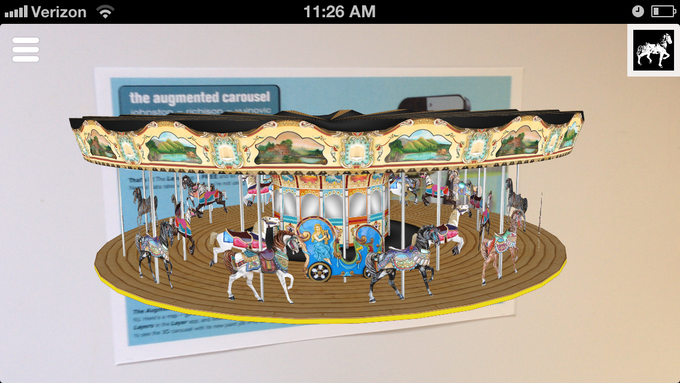 The augmented carousel on a marker postcard.