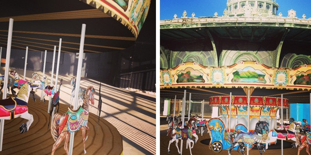 The augmented carousel on site using a geographic marker. These are iPhone screenshots.
