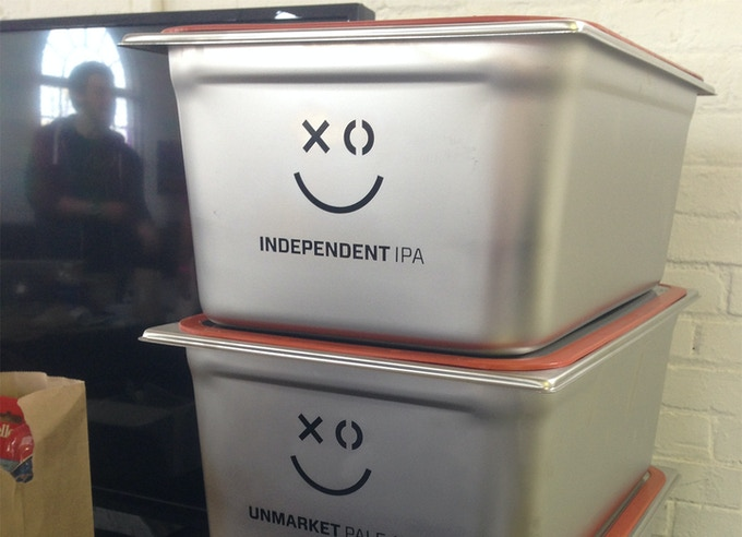Stackable fermentation tank, branded for XOXO conference