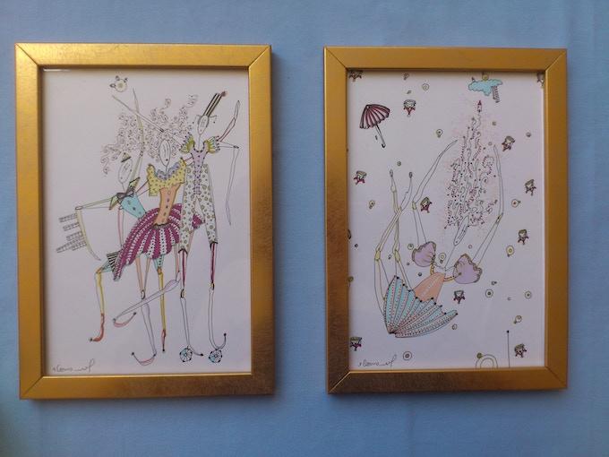 Handmade framed illustrations