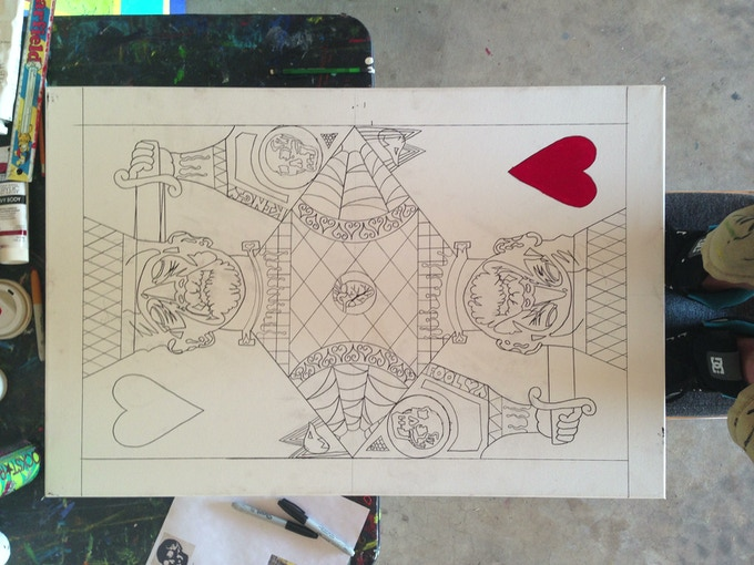 The King of hearts sketched out and ready for paint!