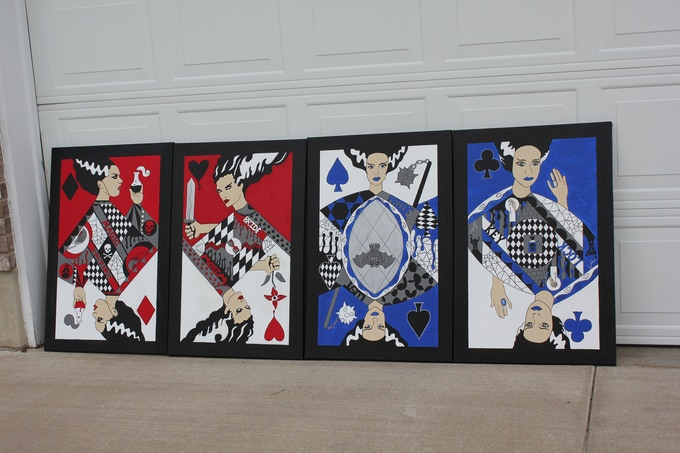 The Queens side by side, each painting is 2 x 3 foot.